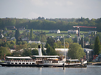 Schaufelraddampfer Hohentwiel vor Konstanzer Hafen, Baden-Württemberg, Deutschland, Europa<br /> paddlesteamer Hohentwiel, port of  Constance, Baden-Württemberg, Germany, Europe