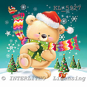 Interlitho, Simonetta, CHRISTMAS ANIMALS, paintings, bear, shawl, trees, KL5927,#xa# Weihnachten, Navidad, illustrations, pinturas ,Simonetta,itdp