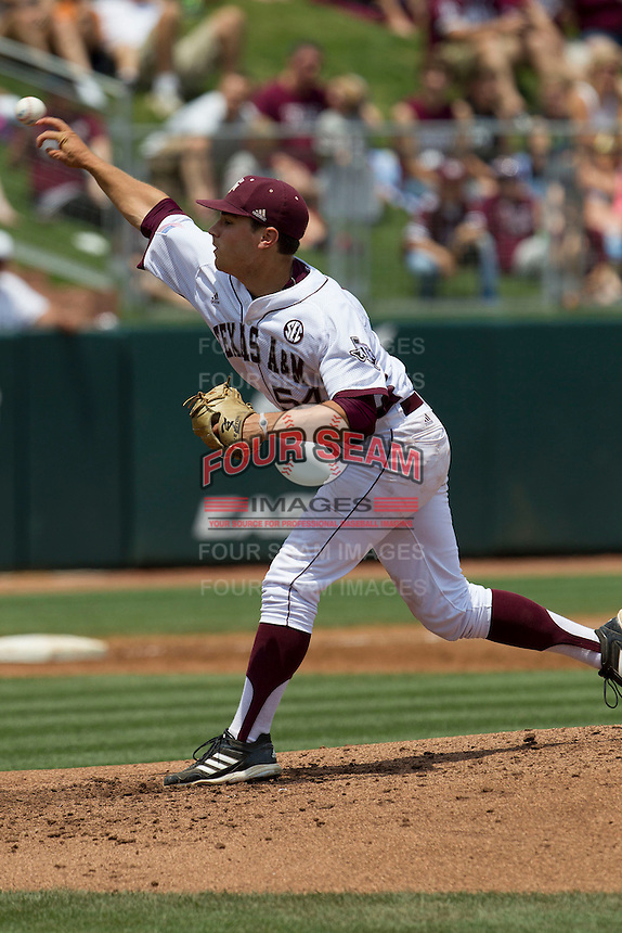 Texas A&M Aggies pitcher Ray Parker (54) delivers a pitch to the plate against the LSU Tigers in the NCAA Southeastern Conference baseball game on May 11, 2013 at Blue Bell Park in College Station, Texas. LSU defeated Texas A&M 2-1 in extra innings to capture the SEC West Championship. (Andrew Woolley/Four Seam Images).