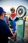 Garrett Gomez  weighs out at Santa Anita Park, Arcadia California on September 29, 2012.