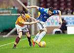 Motherwell v St Johnstone…20.10.18…   Fir Park    SPFL<br />Tony Watt gets his shirt pulled by David Turnbull<br />Picture by Graeme Hart. <br />Copyright Perthshire Picture Agency<br />Tel: 01738 623350  Mobile: 07990 594431