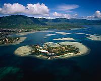 Coconut Island, Aerial View, Kaneohe Bay, Oahu, Hawaii, USA.