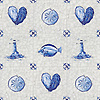 Delft, a hand-cut cut jewel glass mosaic, shown in  Opal Sea Glass™ with jewel glass Lapis Lazuli, Iolite, and Covelite.