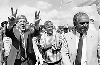 NDP solidarity, Ontario NDP leader Bob Rae - joined by flag carrying autoworkers' union leader Bob White and federal counterpart Ed Broadbent - flashes victory signs yesterday during a campaign stop at the strike-bound de Havilland plant in Downs-view. Al<br /> <br /> Photo : Boris Spremo - Toronto Star archives - AQP