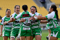 Janna Michal Vaughan of the Manawatu celebrates with team mates after scoring a try during the Farah Palmer Cup Rugby – Wellington v Manawatu at Sky Stadium, Wellington, New Zealand on Friday 25 September 2020. <br /> Photo by Masanori Udagawa. <br /> www.photowellington.photoshelter.com