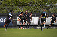 Team Wellington celebrate a late Joao Moreira goal to take a 2-1 win in the ISPS Handa Premiership football match between Team Wellington and Hawkes Bay United at David Farrington Park in Wellington, New Zealand on Saturday, 21 November 2020. Photo: Dave Lintott / lintottphoto.co.nz