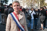 CLEMENTINE AUTAIN - MANIFESTATION DE LA FRANCE INSOUMISE A PARIS, FRANCE, LE 23/09/2017.