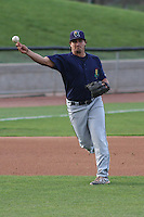 Cedar Rapids Kernels third baseman T.J. White (16) throws to first base during a game against the Wisconsin Timber Rattlers on May 4th, 2015 at Fox Cities Stadium in Appleton, Wisconsin.  Cedar Rapids defeated Wisconsin 9-3.  (Brad Krause/Four Seam Images)