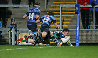Wednesday 2nd January 2019 | MMW Junior Cup Final 2019<br /> <br /> Ballynahinch wing Ronan Patterson scores during the  2019 MMW Ulster Junior Cup Final between Ballynahinch RFC and Dromore RFC at Kingspan Stadium, Ravenhill Park, Belfast, Northern Ireland. Photo by John Dickson / DICKSONDIGITAL