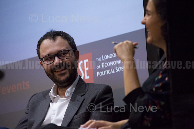 """London, 22/09/2016. Today, LSE (London School of Economics and Political Studies) presented a public lecture - LSE Arts public conversation - called """"Arab Dreams: Growing Up In The Shadow Of Dictators"""" hosted by the author of the graphic novel series """"The Arab of the Future"""" Riad Sattouf (French cartoonist, comics artist, and film director of Franco-Syrian origin; he is best known for his graphic memoir trilogy The Arab of the Future awarded the Fauve d'Or Prize for Best Album of the Year at the Angoulême International Comics Festival and has been translated into sixteen languages, for his César Award Best First Film winner The French Kissers and for Jacky in the Women's Kingdom; he also worked for the satirical French weekly Charlie Hebdo for ten years; he is now a weekly columnist for l'Obs; he grew up in Syria and Libya and now lives in Paris). Chair of the event was Kamila Shamsie (Pakistani-British Novelist, she is the author of six novels, most recently A God in Every Stone; three of her novels have received awards from Pakistan's Academy of Letters; She is a Fellow of the Royal Society of Literature). From the event online page: <<Riad Sattouf's graphic novel series The Arab of the Future tells the unforgettable story of his childhood, spent in the shadows of three dictators - Muammar Gaddafi, Hafez al-Assad, and his father - revealing the inner workings of a tormented country and a tormented family, taking in the sweep of Middle Eastern politics of the 1980s, the ascendency of religion, and the persistence of poverty. In conversation with best-selling author Kamila Shamsie, Riad Sattouf recounts his nomadic childhood growing up in rural France, Gaddafi's Libya, and Assad's Syria – but always under the roof of his father, a Syrian Pan-Arabist who drags his family along in his pursuit of grandiose dreams for the Arab nation […]>>.<br /> <br /> Here there is the link to podcast of the lecture: http://bit.ly/2dam9GU"""