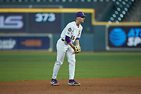 LSU Tigers shortstop Collier Cranford (16) on defense against the Texas Longhorns in game three of the 2020 Shriners Hospitals for Children College Classic at Minute Maid Park on February 28, 2020 in Houston, Texas. The Tigers defeated the Longhorns 4-3. (Brian Westerholt/Four Seam Images)