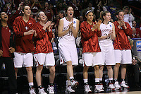 29 March 2008: Melanie Murphy, Ashley Cimino, Hannah Donaghe, Morgan Clyburn, Cissy Pierce, Jeanette Pohlen, and Jillian Harmon during Stanford's 72-53 win over Pitt in the sweet sixteen game of the NCAA Division 1 Women's Basketball Championship in Spokane, WA.