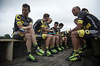 Thomas Voeckler (FRA/DirectEnergie) & teammates getting ready for the Grand Départ - Official Teams Presentation in the historic village of Sainte-Mère-Eglise<br /> <br /> 103rd Tour de France 2016