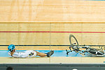 Chan Yik Ming Ricky of the X SPEED falls while competing in Men Junior - Omnium IV Points Race 20KM during the Hong Kong Track Cycling National Championship 2017 on 25 March 2017 at Hong Kong Velodrome, in Hong Kong, China. Photo by Marcio Rodrigo Machado / Power Sport Images