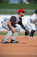 Arkansas Travelers infielder Mike Ahmed (4) readies for a pitch during a Texas League game between the Northwest Arkansas Naturals and the Arkansas Travelers on May 30, 2019 at Arvest Ballpark in Springdale, Arkansas. (Jason Ivester/Four Seam Images)