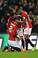 Zlatan Ibrahimovic (C) with Marcos Rojo (L) and Marcus Rashford of Manchester United at the sound of the final whistl<br /> Londra Wembley Stadium Southampton vs Manchester United - EFL League Cup Finale - 26/02/2017 <br /> Foto Phcimages/Panoramic/Insidefoto