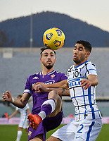 Football Soccer: Tim Cup Round of 16 Fiorentina - FC Internazionale Milano, Artemio Franchi  stadium, Florence, January 13, 2021. <br /> Inter's Achraf Hakimi (r) in action with Fioentina's Gaetano Castrovilli (l) during the Italian Tim Cup football match between Fiorentina and Inter at Florence's Artemio Franchi stadium, on January 13, 2021.  <br /> UPDATE IMAGES PRESS/Isabella Bonotto