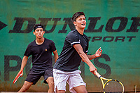 Hilversum, Netherlands, August 5, 2021, Tulip Tennis center, National Junior Tennis Championships 16 and 18 years, NJK, Doubles boys 16 years, Pepijn Langras (NED) and Noah Pawirodirjo (NED)<br /> Photo: Tennisimages/Henk Koster