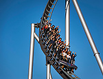 Germany, Baden-Wurttemberg, Rust (Baden): Europa-Park - riding the Silver Star hypercoaster | Deutschland, Baden-Wuerttemberg, Rust (Baden) im Ortenaukreis: Europa-Park - rasante Fahrt mit der Silver Star Achterbahn