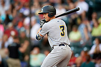 Trenton Thunder third baseman Mandy Alvarez (3) on deck during a game against the Richmond Flying Squirrels on May 11, 2018 at The Diamond in Richmond, Virginia.  Richmond defeated Trenton 6-1.  (Mike Janes/Four Seam Images)