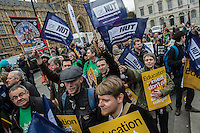 Sixth Form Teachers take part in a strike called by the NUT over pay and conditions. 15-3-16 Several hundred teachers gathered outside the Department of Education in Westmnster.