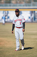Scottsdale Scorpions shortstop Alfredo Rodriguez (3), of the Cincinnati Reds organization, warms up before an Arizona Fall League game against the Peoria Javelinas at Peoria Sports Complex on November 15, 2018 in Mesa, Arizona. Peoria defeated Scottsdale 2-1. (Zachary Lucy/Four Seam Images)