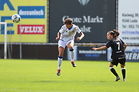 Brugge's Iliano Isabelle heads the ball (L) pictured during a female soccer game between Eendracht Aalst and Dames Club Brugge YLA on the first matchday of the 2020 - 2021 season of Belgian Women's SuperLeague , friday 28 of August 2020  in Aalst , Belgium . PHOTO SPORTPIX.BE | SPP | SEVIL OKTEM