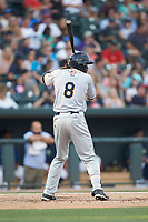 Estevan Florial (8) of the Charleston RiverDogs at bat against the Columbia Fireflies at Spirit Communications Park on June 9, 2017 in Columbia, South Carolina.  The Fireflies defeated the RiverDogs 3-1.  (Brian Westerholt/Four Seam Images)