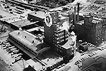 Pittsburgh PA:  Aerial View of the Duquesne Brewery on the South Side of Pittsburgh.<br /> Duquesne Brewery was founded in 1889 and this plant closed in 1972.  <br /> The clock on the Duquesne brewery was originally built in 1932 for Coca-Cola and was on Mt. Washington. The clock was purchased by Duquesne and moved to the South Side in 1961.
