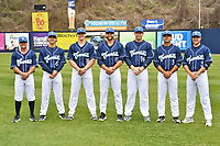 Asheville Tourists infielders (L-R) Hunter Stovall (1) Terrin Vavra (6), Daniel Jipping (16), Johnny Cresto (17), Grant Lavigne (34), Coco Montes (5) and Kyle Datres (3) during media day at McCormick Field on April 2, 2019 in Asheville, North Carolina. (Tony Farlow/Four Seam Images)