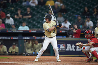 Stephen Scott (19) of the Vanderbilt Commodores at bat against the Houston Cougars during game nine of the 2018 Shriners Hospitals for Children College Classic at Minute Maid Park on March 3, 2018 in Houston, Texas. The Commodores defeated the Cougars 9-4. (Brian Westerholt/Four Seam Images)