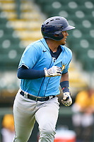 FCL Rays Mario Fernandez (59) rounds the bases after hitting a home run during a game against the FCL Pirates Gold on July 26, 2021 at LECOM Park in Bradenton, Florida. (Mike Janes/Four Seam Images)