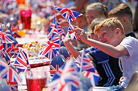 Pictured: Young children Fresh enjoy themselves on the table at a street party in Cardiff. Saturday 19 May 2018<br /> Re: Prince Harry and Meghan Markle Royal Wedding Street Party at Avondale Crescent in Cardiff, Wales, UK.