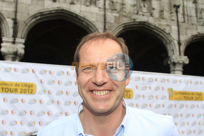 Tour Director Christian Prudhomme at the Team Presentation Ceremony before the 2012 Tour de France in front of The Palais Provincial, Place Saint-Lambert, Liege, Belgium. 28th June 2012.<br /> (Photo by Eoin Clarke/NEWSFILE)