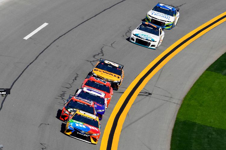#18: Kyle Busch, Joe Gibbs Racing, Toyota Camry M&M's and #19: Martin Truex Jr., Joe Gibbs Racing, Toyota Camry