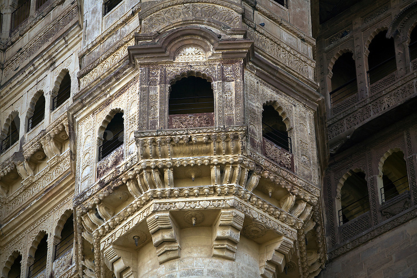 Stone carved  windows are an example of Rajput architecture at MEHERANGARH FORT in JOHDPUR - RAJASTHAN, INDIA