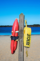 Rescue floats at a beach, Massachusetts, USA