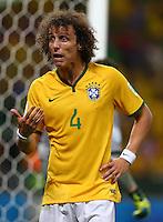 David Luiz of Brazil pulls a face as he gestures