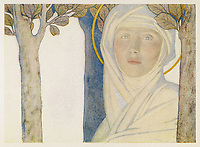 SAINT BRIGID  Irish slave who became a nun who became a saint also known as Bride Bridget / Cayley Robinson in Saints and Their Stories page 129 / 450? - 525?