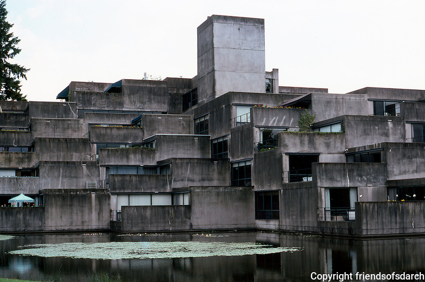 """Vancouver: Shaughnessy Place--V-shaped, 6 levels, 71 units. """"Somewhat reminiscent of ...Habitat '67"""""""
