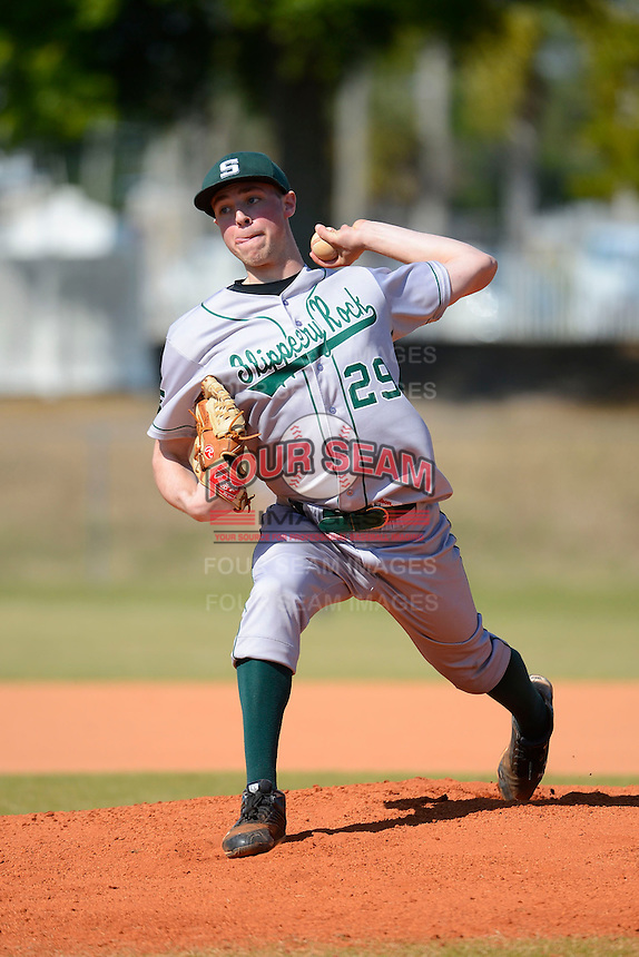 Slippery Rock pitcher Anton Constantino (29) during a game against the Wayne State Warriors on March 15, 2013 at Chain of Lakes Park in Winter Haven, Florida.  (Mike Janes/Four Seam Images)