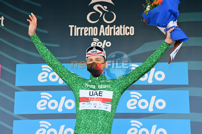 Race leader Tadej Pogacar (SLO) UAE Team Emirates also retains the mountains Maglia Verde at the end of Stage 6 of Tirreno-Adriatico Eolo 2021, running 169km from Castelraimondo to Lido di Fermo, Italy. 15th March 2021. <br /> Photo: LaPresse/Gian Mattia D'Alberto | Cyclefile<br /> <br /> All photos usage must carry mandatory copyright credit (© Cyclefile | LaPresse/Gian Mattia D'Alberto)