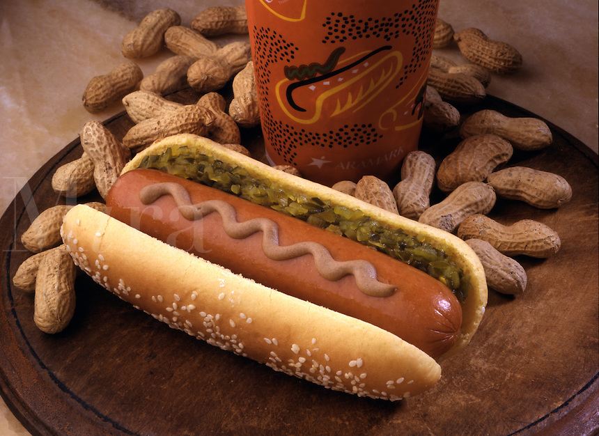 hot dog shown with peanut