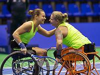 Rotterdam, Netherlands, December 17, 2015,  Topsport Centrum, Lotto NK Tennis, Wheelchair lady's doubles: Marjolijn Buis (L) and Michaela Spaanstra (NED) winning<br /> Photo: Tennisimages/Henk Koster