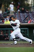 Michael Hermosillo (10) of the Inland Empire 66ers bats against the San Jose Giants at San Manuel Stadium on April 8, 2017 in San Bernardino, California. (Larry Goren/Four Seam Images)