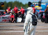 Aug 18, 2019; Brainerd, MN, USA; An NHRA fan wears a costume during the Lucas Oil Nationals at Brainerd International Raceway. Mandatory Credit: Mark J. Rebilas-USA TODAY Sports