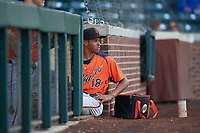 AZL Giants Orange Edison Mora (18) during an Arizona League game against the AZL Cubs 1 on July 10, 2019 at Sloan Park in Mesa, Arizona. The AZL Giants Orange defeated the AZL Cubs 1 13-8. (Zachary Lucy/Four Seam Images)