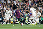 (L-R) Real Madrid CF's Gareth Bale, Luka Modric, Karim Benzema  and FC Barcelona's Leo Messi, Arthur Melo during La Liga match. March 02,2019. (ALTERPHOTOS/Alconada)