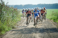 riders hitting the gravel roads, James Vanlandschoot (BEL/Wanty-Groupe Gobert) up front<br /> <br /> 90th Schaal Sels 2015