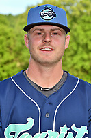 Asheville Tourists pitcher Colten Schmidt (1) before a game against the Hagerstown Suns at McCormick Field on April 30, 2019 in Asheville, North Carolina. The Tourists defeated the Suns 5-4. (Tony Farlow/Four Seam Images)